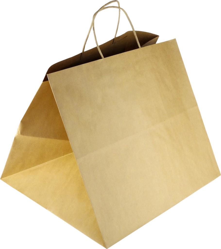PS113G001 Papiertasche mit Papierkordel EKO PLUS braun glatt - PIZZABAG / SUSHI BAG
