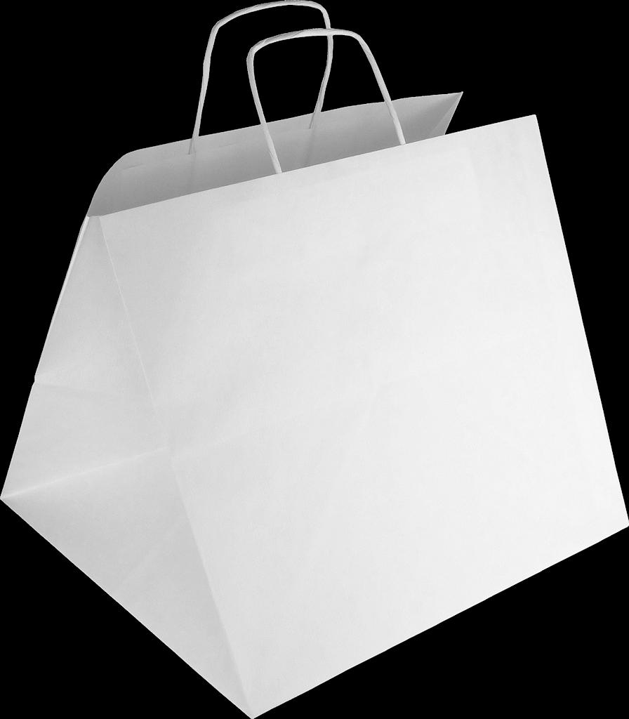 Papiertasche mit Papierkordel EKO PLUS weiß - PIZZABAG / SUSHI BAG.