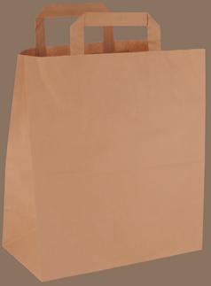 Papiertasche mit Flachhenkel braun