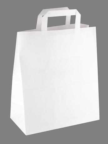 Papiertasche mit Flachhenkel weiß