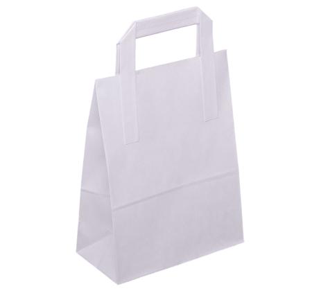 Papiertasche mit Flachhenkel weiß.