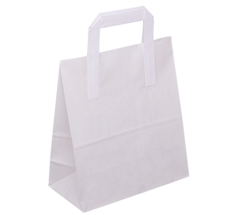 PP204G002 Paper bag with folded paper handle, white smooth