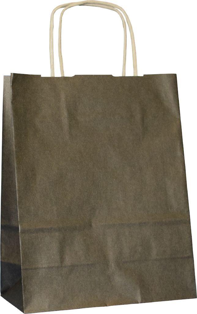 PS3013G - Papiertasche mit Papierkordel EKO PLUS, braun glatt, vollflächig bedruckt - SCHWARZ