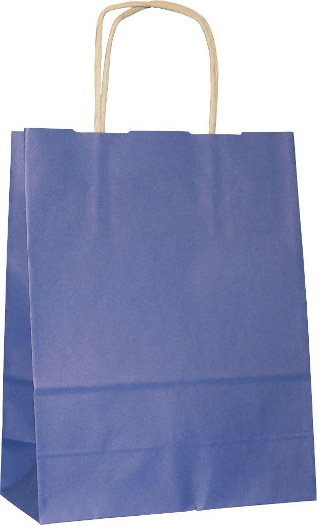 PS3015G - Papiertasche mit Papierkordel EKO PLUS, braun glatt, vollflächig bedruckt - BLAU